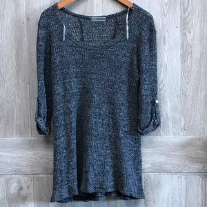 Sweater Lightweight Gray With Button Sleeve BB173